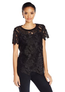 Three Dots Women's Floral Lace Tee  XL