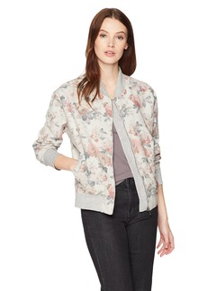 Three Dots Women's Floral Terry Short Loose Bomber Jacket