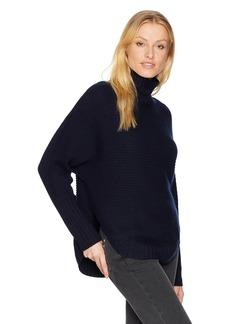 Three Dots Women's Funnel Neck Loose Mid Sweater Night iris