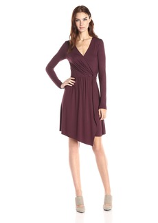Three Dots Women's Gabriella Long Sleeve Asymmetric Wrap Dress