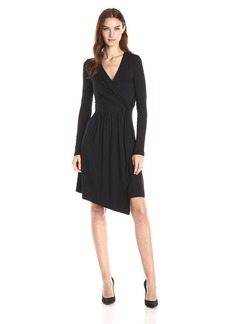 Three Dots Women's Gabriella Long Sleeve Asymmetric Wrap Dress