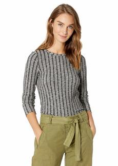 Three Dots Women's GQ2660 Variegated Sweater Long Sleeve Crewneck