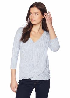 Three Dots Women's GQ54578 Variegated Sweater 3/4 SLV Twist top  Extra Large