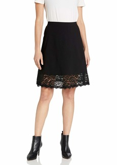 Three Dots Women's HBY3237 Ponte Skirt W/LACE