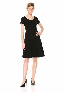 Three Dots Women's HBY5882 Ponte S/S Seamed Dress  Extra Large