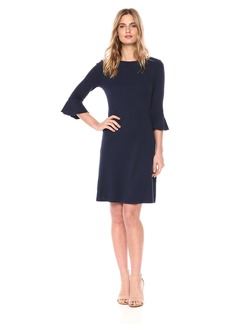 Three Dots Women's Heritage Knit 3/4 Sleeve Short Loose Ruffle Dress