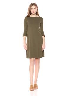 Three Dots Women's Heritage Knit 3/4 Sleeve Short Loose Ruffle Dress NICOISE