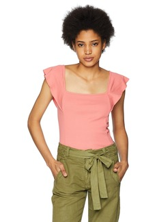 Three Dots Women's Heritage Knit Flutter Sleeve Short Tight top  Extra Large