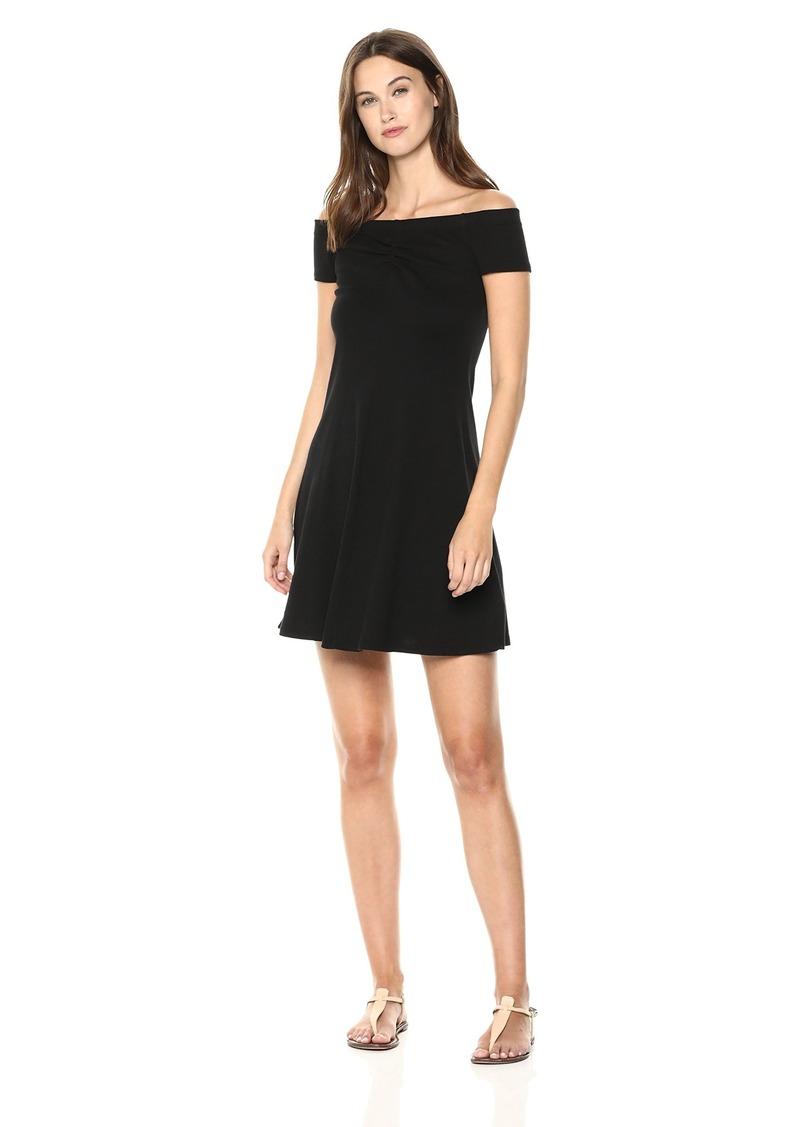 Three Dots Women's Heritage Knit Off Shoulder Short Loose Dress