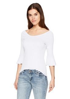 Three Dots Women's Heritage Knit Ruffle 3/4 SLV mid Loose Shirt