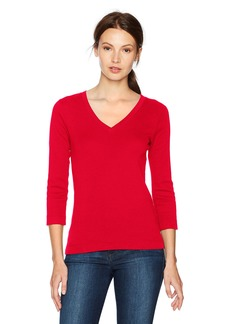 Three Dots Women's Heritage Knit V-Neck Tight Mid Shirt  Xtra Small