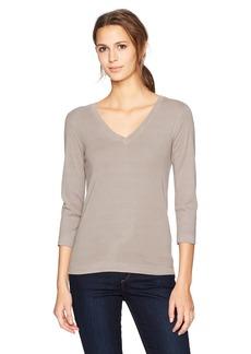 Three Dots Women's Heritage Rib 3/4 SLV deep v-Neck mid Shirt