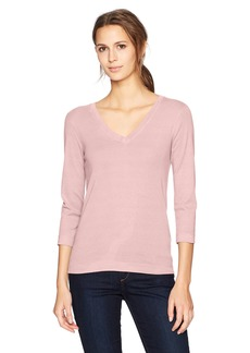 Three Dots Women's Heritage Rib 3/4 SLV Deep v-Neck Mid Shirt  Extra Large