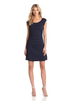 Three Dots Women's Heritage Rib Dress W/ Ruched Waist night iris M