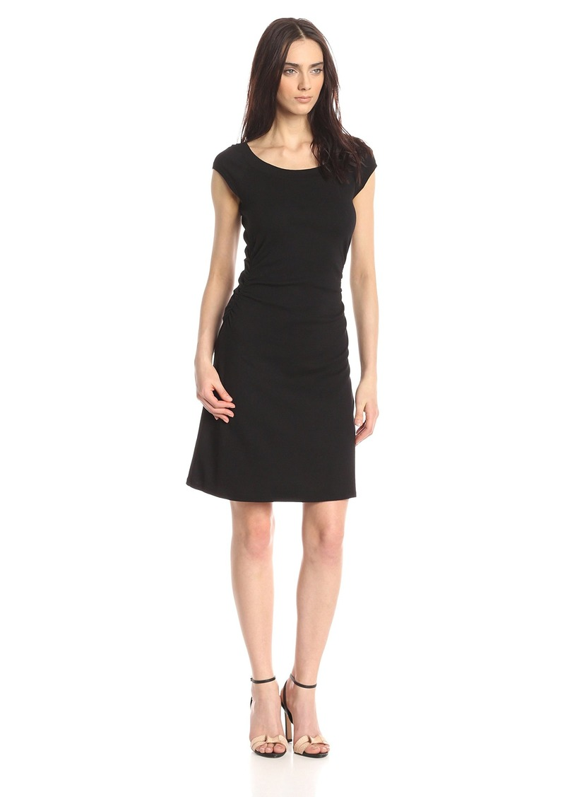 Three Dots Women's Heritage Rib Dress W/Ruched Waist black S