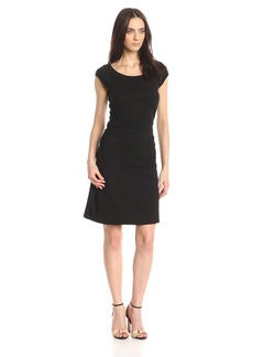Three Dots Women's Heritage Rib Dress W/Ruched Waist black XS