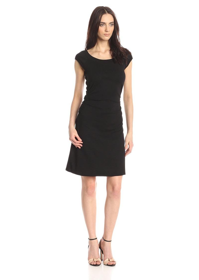Three Dots Women's Heritage Rib Dress W/Ruched Waist black XS
