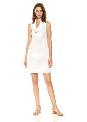 Three Dots Women's Heritage Rib Mykonos Stripe Cowl Neck Dress  L