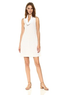 Three Dots Women's Heritage Rib Mykonos Stripe Cowl Neck Dress  L
