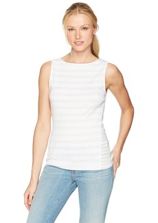 Three Dots Women's Heritage Rib Santorini & Mykonos Mixed Striped Tank  M