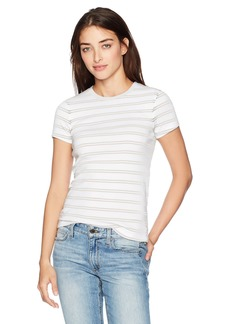 Three Dots Women's Heritage Rib Santorini Stripe Kennedy S/s Crew Neck Tee  L
