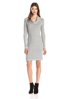 Three Dots Women's Herringbone Thermal Long Sleeve Cowl Neck Dress