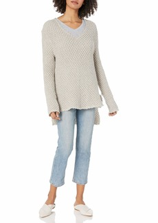 Three Dots Women's Honeycomb mid Loose Sweater  Extra Large