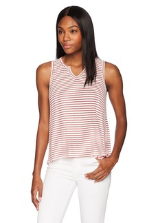 Three Dots Women's Hyannis Stripe Loose Short Shirt Natural/red