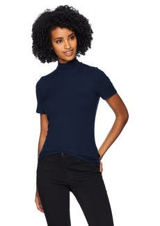 Three Dots Women's JY1494 Viscose Rib s/s Turtleneck Night iris