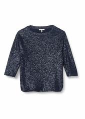 Three Dots Women's Knit Loose Short Sweatshirt Night iris