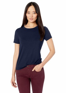 Three Dots Women's LD1561 Refined Jersey Open Crewneck TEE Night IRIS