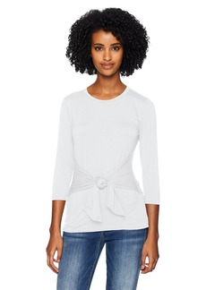 Three Dots Women's LD4581 Refined Jersey 3/4 SLV tie Front top