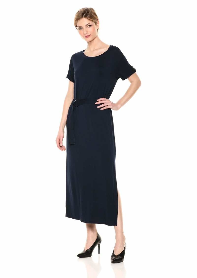 Three Dots Women's LD5888 Refined Jersey MID Dress W/Rolled Cuff Night iris