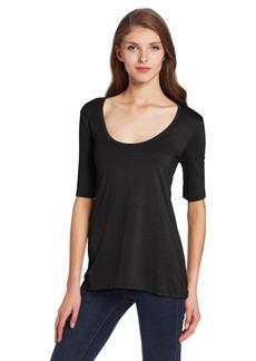 Three Dots Women's 3/4 Sleeve Drapey Tee black S