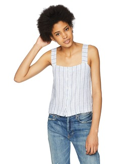 Three Dots Women's Linen Stripe Button Loose Short Tank  Extra Small