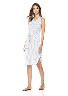 Three Dots Women's Linen Stripe Loose Long Dress  Extra Small
