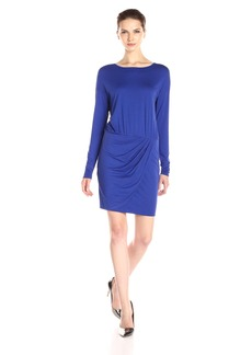 Three Dots Women's Long Sleeve Dress with Wrap Skirt