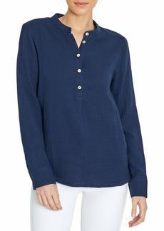 Three Dots Women's Long Sleeve Henley Shirt