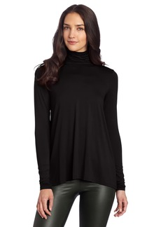 Three Dots Women's Long Sleeve High Low Turtleneck Shirt