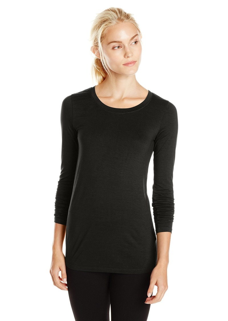 Three Dots Women's Long Sleeve Open Neck Tee