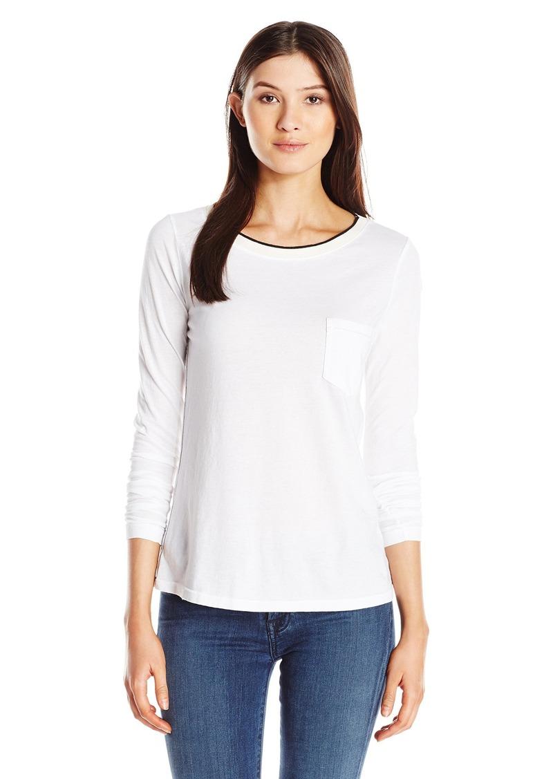 Three Dots Women's Long Sleeve Pocket Tipped Tee