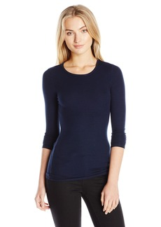 Three Dots Women's Long Sleeve Rib Crew  S