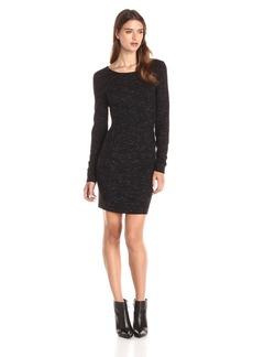 Three Dots Women's Long Sleeve Space Dye Ponte Dress