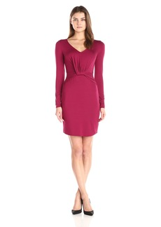 Three Dots Women's Long Sleeve V-Neck Dress