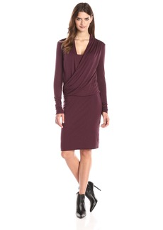 Three Dots Women's Long Sleeve Wrap Front Dress In Slub