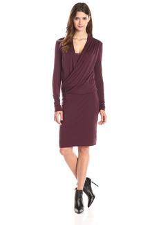 Three Dots Women's Long Sleeve Wrap Front Dress In Slub