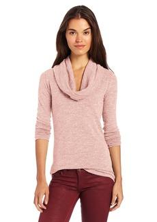 Three Dots Women's L/s Cowlneck Tunic Sweater Slub