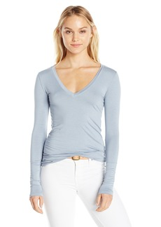 Three Dots Women's L/s Deep V-Neck  XS