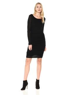 Three Dots Women's Luxe Slub Shirred Long Tight Dress