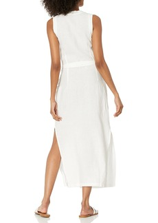 Three Dots Women's LW5893 Woven Linen MIDI WRAP Dress